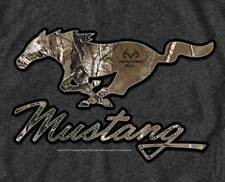 Ford Real Tree Mustang Running Camo Pony Men's T Shirt in Charcoal