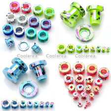 """8 Pair Acrylic Double Flare 12g-1/2"""" Ear Tunnels Plugs Earlet Expander Stretcher"""