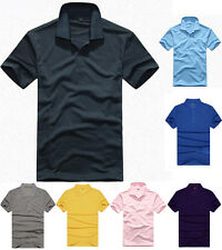 Classic Mens Lapel Short Sleeve Solid Color Polo Shirt Tee T-shirt Clothes NEW