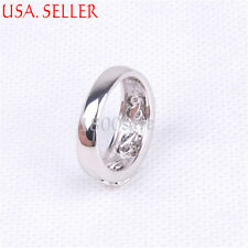 925 Sterling Silver Stunning 10mm wide 3 Flowers Crystal Split Band Ring E485