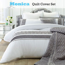 3 Pce Monica White Silver Quilt Cover Set by Phase 2 - DOUBLE QUEEN KING
