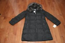 New Calvin Klein Womens Hood Quilt Down Puffer Coat Jacket M XL Dark Charcoal