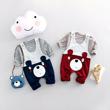 2PCS Kids Baby Boys Little Bear long Sleeve T-Shirt Tops + Pants Clothes Outfits