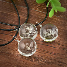 Women Glass Ball Dandelion seed Pendant Leather Long Chain Necklace Jewelry