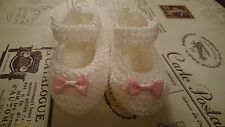Hand Knitted Cream Baby Shoes with pink bow  0-3 , 3-6 or Reborn