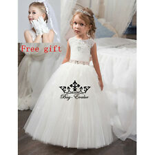 Flower Girl Dress Princess Pageant Wedding Birthday Prom baptism Pageant Perform