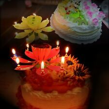 Beautiful Lotus Flower Musical Rotating Candle Singing Happy Birthday Party Gift