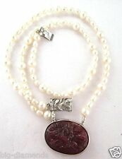 """NATURAL REAL BEAUTIFUL PEARL & 74.45cts CARVED RUBY PENDANT NECKLACE 20"""""""