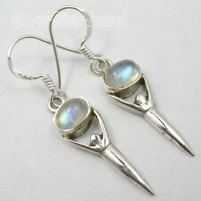 925 Solid Silver Real MOONSTONE, CITRINE & More Gemstone Choice GODDESS Earrings
