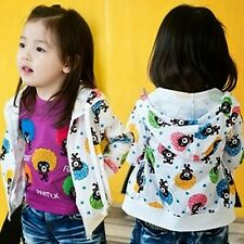 Cute Cartoon Bear Zip Up Baby Girls Kids' Clothing Hoodie Sweats Outwear Pockets