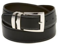 Reversible Belt Wide BLACK / Charcoal with White Stitching Silver-Tone Buckle