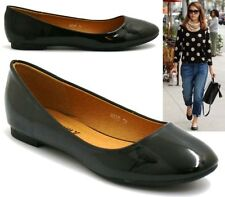 NEW WOMENS FLAT PUMPS LADIES PATENT BALLET BALLERINA DOLLY WORK SHOES SIZE