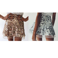 Sexy Womens Sequins Skater Flared Pleated Party Sexy High Waist Short Mini Skirt