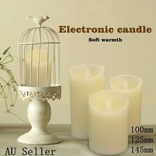 3X LED Candles Battery Operated As Wax Flickering Pillar Flameless ZAD
