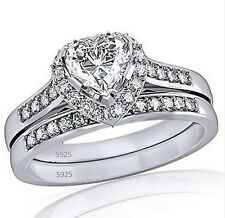 2.35 ct Sterling Silver 925 Heart Shaped CZ Halo Engagement and Wedding Ring Set