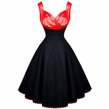 Hearts and Roses London Black Red Satin 50s Vintage Party Prom Dress