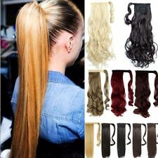 New Ponytail Clip In Hair Extension Wrap Pony Tail Fake Hairpiece For human Hair