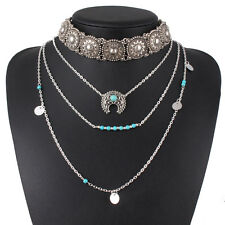 Retro Ethnic Necklace Silver Turquoise Hippie Bohemian Boho Festival Jewelry New