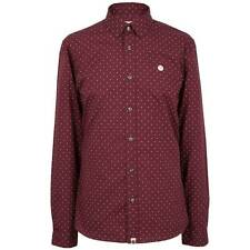 Pretty Green Polka Dot Long Sleeve Shirt - Burgandy
