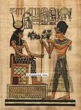 "Egyptian Papyrus Painting - Ramsis II & Isis 8X12"" + Hand Painted #88"