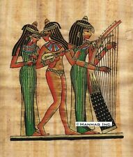 "Egyptian Papyrus Painting - Three women Musicians 8X12"" + Hand Painted #69"