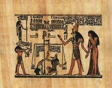 """Egyptian Papyrus Painting - The Judgment 7X9"""" + Hand Painted + Description #78"""