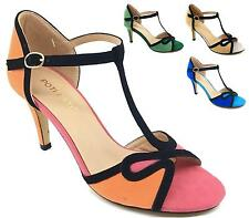 NEW WOMENS LADIES STILETTO HIGH HEEL T-BAR PEEPTOE PARTY GOING OUT SHOES 3-8