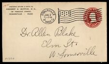 Somerville Ma Jan 2 1913 Flag Cancel On Ad Cover To West Somerville