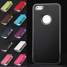 Luxury Metal Bumper PU Leather Flip Case Cover Pouch For Apple iPhone 4/4S/5/5S