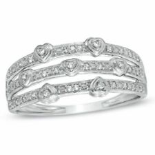 Real Diamond Accent Stacked Hearts Ring in Solid 18K White Gold