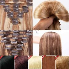 US Mix Color Double Weft Clip In Real Remy Human Hair Extensions Full Head BS116