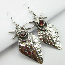 4x4 mm Round Cut GARNET GEM Bohemian Jewelry !! 925 Solid Silver Earrings 4.4 CM