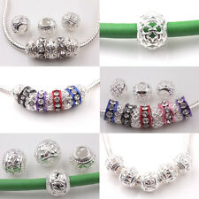 10/50Pcs Fit European Sterling Silver Woven Hollow Beads Solid Charms Bracelets