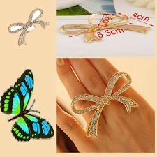 Jewelry Big Bowknot Design Ring Decorative Rings Rhinestone Rings Finger Ring