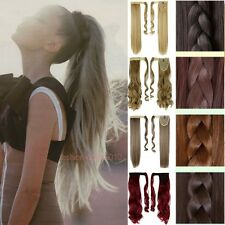 Thick Clip In On Ponytail Hair Extensions Wrap Around Pony Tail Brown Blonde 2w