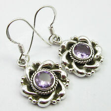 925 Solid Silver Genuine FACETTED AMETHYST ARTISAN Earrings GIFT Jewelry 3.2 CM