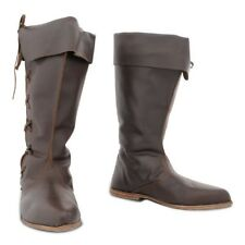 Knee Length Leather Boots Medieval Renaissance Shoes SCA LARP Pirate