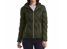 Michael Kors Womens Olive Green Chevron Quilted Hooded Down Puffer Packable Coat