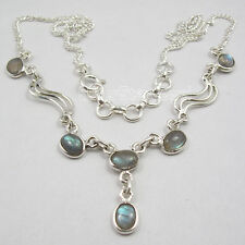 925 Sterling Silver CABOCHON LABRADORITE GEMSTONE Necklace 17.25 Inches BIJOUX