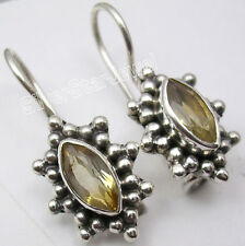 925 Sterling Silver CUT MARQUISE YELLOW CITRINE VINTAGE STYLE Earrings 2.3 CM