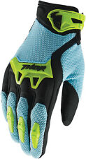 THOR MX MENS ADULT MX ATV RIDING POWDER BLUE / LIME SPECTRUM RACE GLOVES RACING