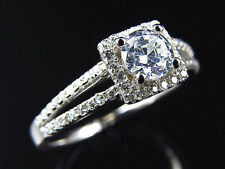 Simulated Diamond Square Halo Solitaire Engagement Ring In White Gold Finish 7MM