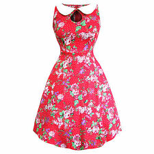 Whispering Ivy Red Floral Flared 1950s Retro Vintage Party Prom Dress UK