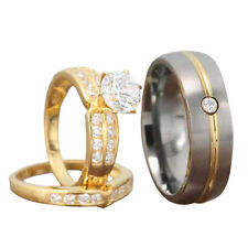His and Hers Wedding Rings 3 pcs Engagement CZ Sterling Silver Titanium Set FE