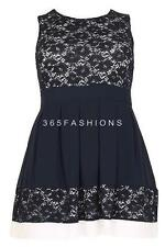 SAMYA PLUS SIZE SLEEVELESS FLORAL LACE CHIFFON PLEATED HEM SKATER DRESS NAVY