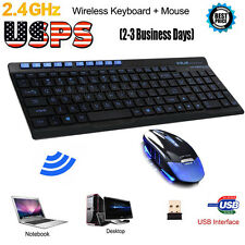 Wireless 2.4G Gaming Keyboard Mouse Combo Set For PC Laptop Pro Gamer USPS LOT