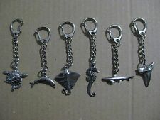 Turtle, Dolphin, Stingray, Seahorse, Shark, Shark Tooth, Quality Pewter Keyring