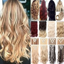 US Long As Remy Human Hair Extensions 5Clip Clip On HAIR EXTENSION Full HEAD FD1