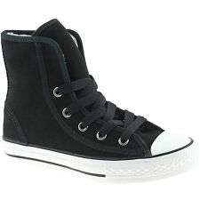 BOYS GIRLS CONVERSE FUR LINED BOOTS SIZE UK 10 - 1 SUPER HI SUEDE BLACK 640503C