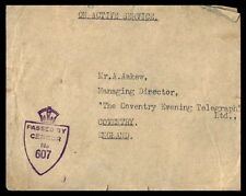 Great Britain England Conventry No 607 1945 Crown Censor Cover